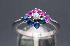 Ring bague 585 GOLD 14 Karat Zirkonia Rubin ruby rubis Saphir anello oro or 14kt