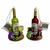 Set/2 Kurt Adler Wine Bottle Glass Grape Vineyard Christmas Tree Decor Ornaments