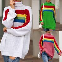 Femmes Col Roulé Pulls Tricoté à Manches Longues Coloré Rayures Baggy Knitwear
