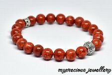Red Coral Silver  Beaded Natural Gemstone Bracelet Stone Healing Reiki Chakra