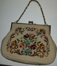 Vintage wool floral needlepoint chain strap handbag purse.