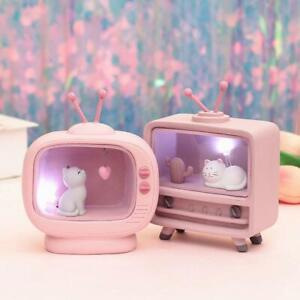Cute TV Cat Lamp Pink LED Nightlight Valentine's Day Birthday Gift Home Decor