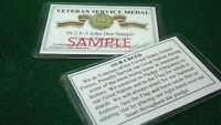 United States Veterans Service Medal Laminated Card 2 1/8 X 3 3/8