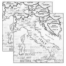 "Creative Imaginations 12"" x 12"" Italy -  Map Scrapbook Paper"