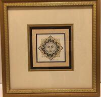 Signed Kathleen Ney Signet Celestial Sun Lithograph Print Framed Gold Black