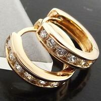 Hoop Earrings 18k Rose Gold G/F Solid Ladies Diamond Simulated Huggie Design
