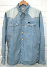 Men's LEE Two-Tone Western Denim Shirt Light Blue Stonewash Size: Large RRP: £90