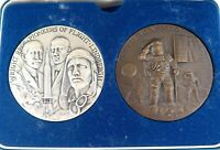 """.STUNNING HEAVY SET """"THE WINGS OF MAN. TRIBUTE TO APOLLO"""" SILVER & BRONZE MEDALS"""