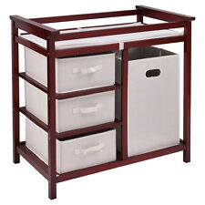 Cherry Infant Baby Changing Table w/3 Basket Hamper Diaper Storage Nursery New