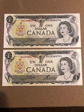 1973 Canada One Dollar Bank Note. 2 Uncirculated Consecutive Note. BAS