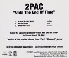 2Pac: Until The End Of Time PROMO Music CD Sampler Death Row Clean Radio Edit +