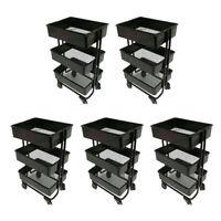Pack of 5 Modern 1:12 Metal 3 Tier Storage Shelf Rack Dollhouse Decor Accs
