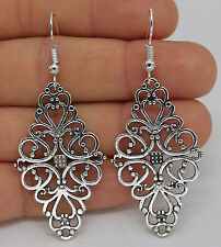 925 Silver Plated Hook -  2.3'' Rhombus Flower Hollow Women Club Earrings #61