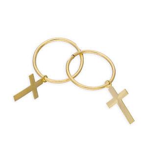 Real 375 9ct Yellow Gold Cross Hoop Earrings Religion Faith Catholic Christian