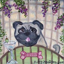 Pug at the Martini Bar Art Print 8x8 Pop Vintage Style Artist Dog Collectible