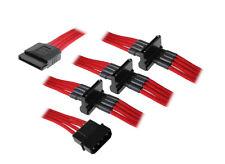 BitFenix Molex zu 4x SATA Adapter 20 cm - sleeved rot/schwarz