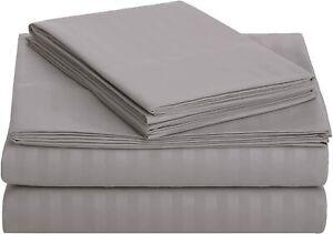 "Dark Grey Deluxe Microfiber Striped Sheet Set, Queen (60""x80"") by AmazonBasics"