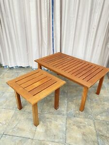 Set of Two 2 Teak Hardwood Conseratory Patio Tables Coffee End Outdoor Garden