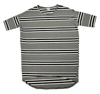 LuLaRoe Women's T-shirt Dress Hi-Low Hem Black White Striped Size Small