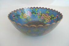 Antique Transparent Open Face Cloisonne Plique A Jour Scalloped Floral Bowl