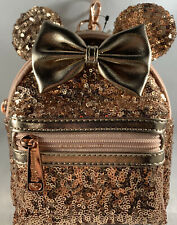Disney Parks Minnie Mouse Sequin Wristlet Backpack Loungefly Rose Gold FREE SHIP