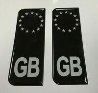 Domed Black & Silver Euro GB Vehicle Number Plate Stickers - 39mm - GLOSS GEL