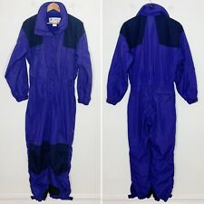 Vintage Columbia Womens Purple Black One Piece Zip Up Insulated Ski Snowsuit L