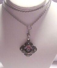 """Button Snaps - Grand Snap Necklace with 30"""" inch Silver Rolo Chain - Fits Ginger"""