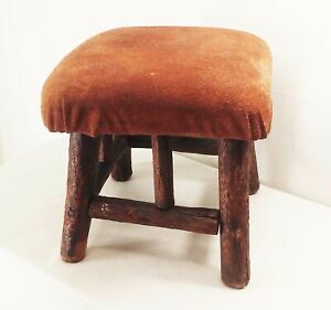 Vtg antique early wood wooden farm barn milk milking stool chair 4 leg rustic