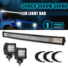 """34inch 3808W Curved Led Light Bar Flood Spot Beam Truck Jeep Driving Lamp 36"""" 30"""