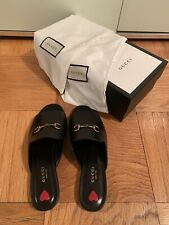 Authentic NIB Gucci Leather Slides With Metal Bit Size 39