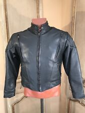 New Hot Leather Cafe Racer Motorcycle Jacket Mens Size Small Blk