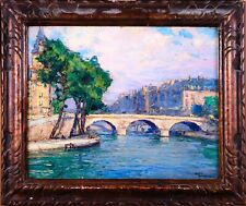 ANDRE BERONNEAU (1896-1973) SIGNED FRENCH 1927 OIL - PONT SAINT MICHEL PARIS
