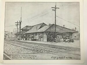 "1984 Southern Amtrak Station Georgia Etching By Ralph J Mitchell 11""x8.5"""
