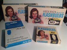 Vtg Sylvania camera Flashbulbs + GE full box - Anciennes lampes-éclair caméra