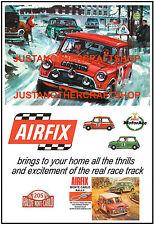 Airfix Mini Cooper Monte Carlo Rally Set 1967 Cartel Anuncio Letrero de ranura de coche de carreras