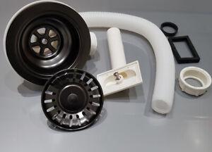 Black  Effect Basket Strainer Kitchen Waste with Rectangle Overflow-Kitchen Sink