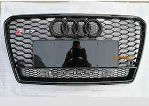 Full Black A7 Front Grille Grill for Audi A7 Sline & S7 2010-14 To RS7 Style