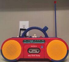 My First Sony CFS-2050 AM/FM Cassette Boom Box Radio Aux RARE Read Description