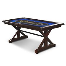 Poker Table Premium Solid Wood 6 Player Game Play Room Casino Friends Tables
