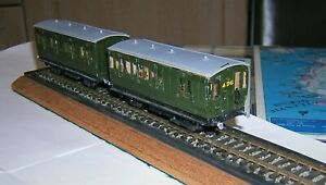 """*FINE Pair! Scratch/Kit-Built SR """"Southern"""" EX-LBSCR Olive Green 4-WHEEL COACHES"""