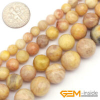 "Yellow Sun Stone Gemstone Faceted Round Loose Beads For Jewelry Making 15"" YB"