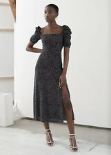 & Other Stories Puff Sleeve, Navy and White, Dress, Size 12. BNWT.