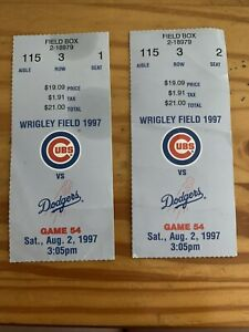 1997 Chicago Cubs Vs Dodgers Wrigley Field Baseball 2 Ticket Stubs Used