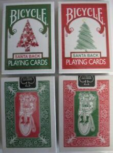 Bicycle Red 225 & Green 245 Santa Maiden Back Playing Cards Christmas Tree