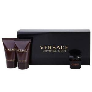 VERSACE CRYSTAL NOIR  5ml EDT Splash 3 PC  MINI Gift Set  For Women By  VERSACE