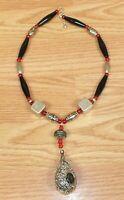 Red Black & Silver Tone Bird in Nest Women's Faux Fashion Necklace **READ**