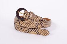 RALPH LAUREN Brown Python Snake Skin Leather Skinny Womens Animal Buckle Belt M