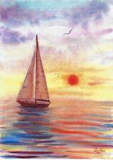 original painting A3 116PO art samovar Watercolor seascape sunset yacht
