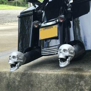 "Unpolished Skull Exhaust Tip Original 2.5"" hot rod muscle rat pickup auto car v"